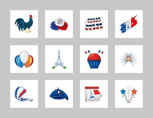 Frankreich flagge ballons cupcake wimpel