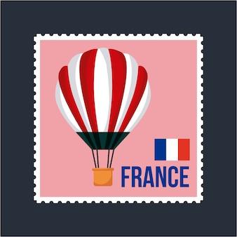 Frankreich flagge französisch postkarte heißluftballon