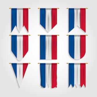 Frankreich flagge in verschiedenen formen