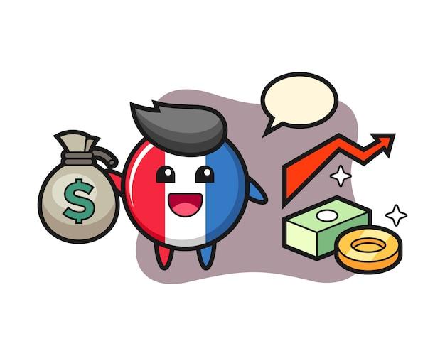 Frankreich-flaggenabzeichen-illustrationskarikatur, die geldsack hält