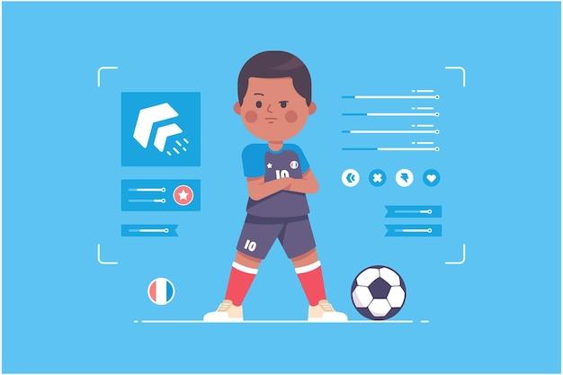 Frankreich fußballspieler süßes charakterdesign