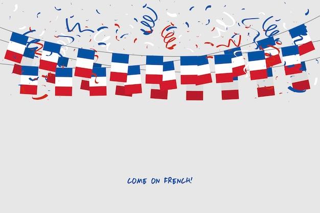 Frankreich-girlandenflagge mit konfettis auf grauem hintergrund.