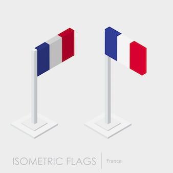 Frankreich isometrische flagge