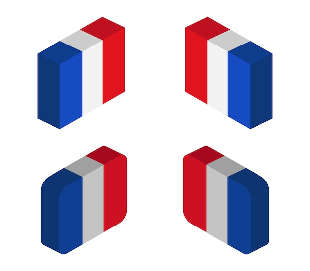 Frankreich isometrische flaggen gesetzt