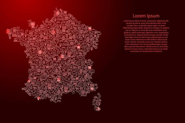 Frankreich-karte aus roten und leuchtenden sternensymbolen mustersatz seo-analysekonzept oder entwicklung, geschäft. vektor-illustration.