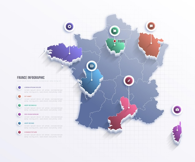 Frankreich karte infografik