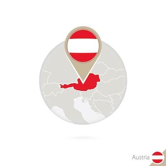 Frankreich-karte und flagge im kreis. karte von frankreich, frankreich-flaggenstift. karte von frankreich im stil der welt. vektor-illustration.