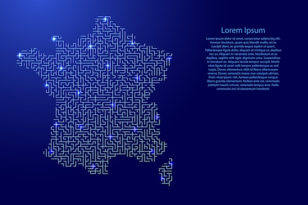 Frankreich karte vom blauen muster des labyrinthgitters und des leuchtenden raumsterngitters.