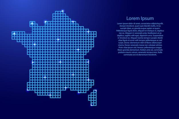 Frankreich-kartensilhouette aus blauen mosaikstrukturquadraten und leuchtenden sternen. vektor-illustration.