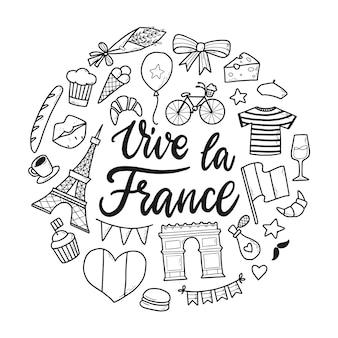 Frankreich kritzeleien und schriftzug zitat vive la france Premium Vektoren