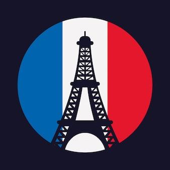 Frankreich kultur mit flagge und eiffelturm