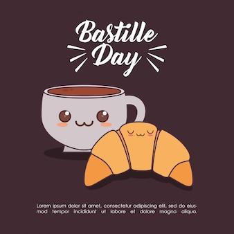 Frankreich-kultur mit kaffeetasse kawaii