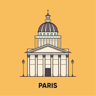 Frankreich, paris, pantheon, reiseillustration, flache ikone