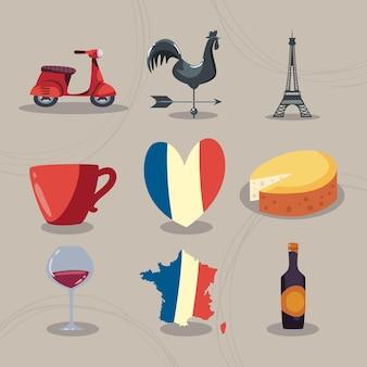 Frankreich reihe von symbolen