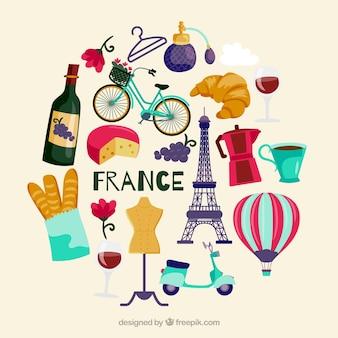 Frankreich-symbolsammlung