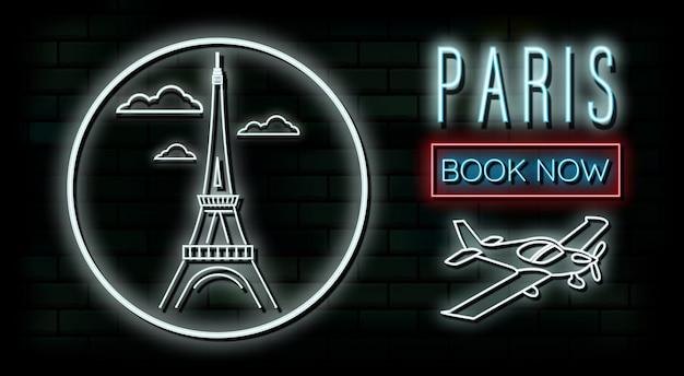 Frankreich und paris reisen und neonlichthintergrund der reise