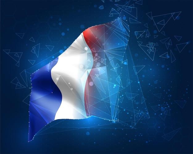 Frankreich, vektorflagge, virtuelles abstraktes 3d-objekt aus dreieckigen polygonen auf blauem hintergrund
