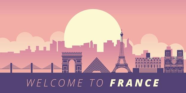 Frankreich wahrzeichen illustration