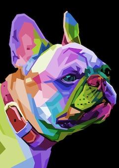 Französische bulldogge auf geometrischem pop-art-stil