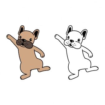 Französische bulldogge der hundekarikatur