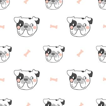 Französische bulldogge des nahtlosen musterhintergrundes mit süßem knochen