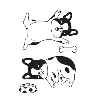 Französische bulldogge, die mit knochennahrungsmittelschüssel-karikatur schläft