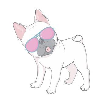 Französische bulldogge gesicht hund herz brille illustration vektor cartoon