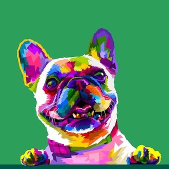 Französische bulldogge in den pop-artfarben lokalisiert auf grünem hintergrund