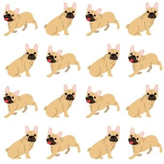 Französische bulldogge in der aktion, nahtloses muster