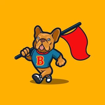 Französische bulldogge maskottchen logo-design