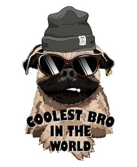 Französische bulldogge mit schwarzer mütze und sonnenbrille.