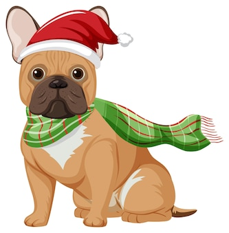 Französische bulldogge mit weihnachtsmütze cartoon-figur