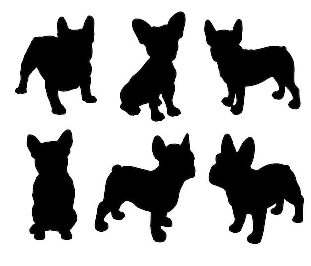 Französische bulldogge silhouettenpaket