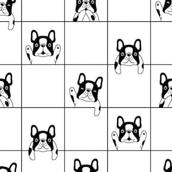 Französische bulldoggenkarikaturillustration des nahtlosen musters des hundes