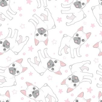 Französische bulldoggenpfote des nahtlosen musters des hundes