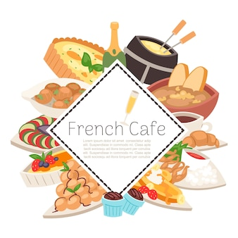 Französische cafélebensmittelmenü-darstellungsschablone