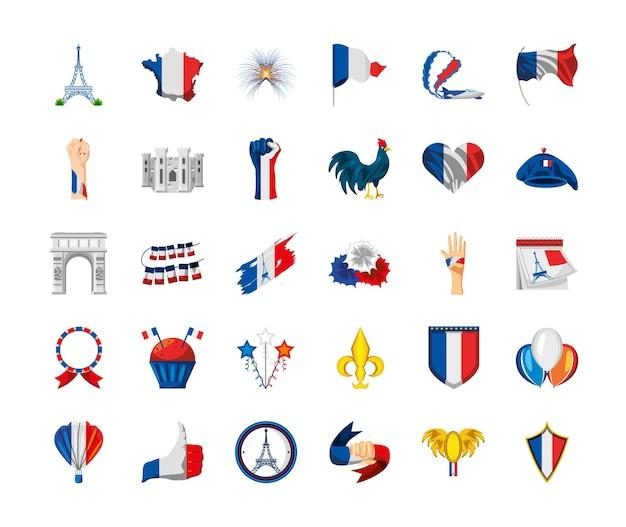 Französische flagge karte herz eiffelturm