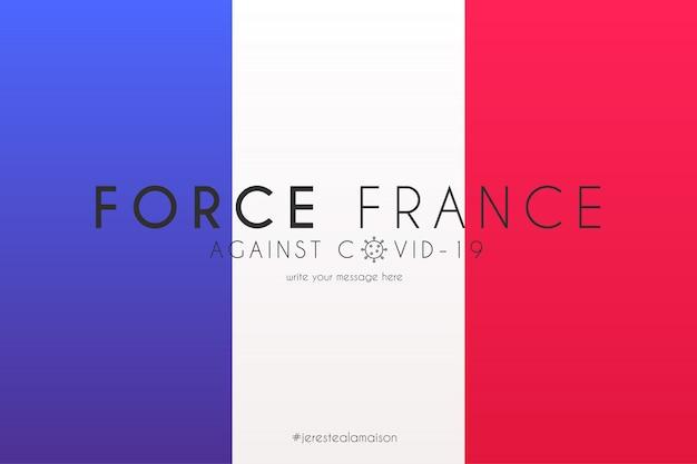 Französische flagge mit unterstützungsbotschaft gegen covid-19