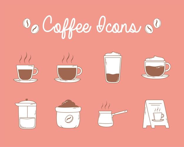 Französische kaffeepressetassen und brettsymbole in der braunen linie