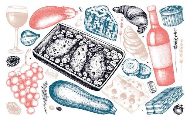 Französische küche gerichte und zutaten skizzen sammlung. hand gezeichnete lebensmittel- und getränkeillustrationen. vintage französische restaurant speisen und getränke menüelemente. graviertes stilset.