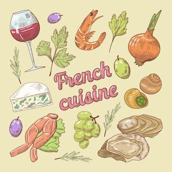 Französische küche kritzeln mit wein und käse