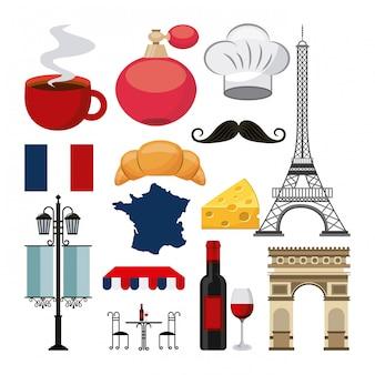 Französische kultur stellen icons