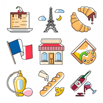 Französische kultur und lebensmittel, vektorillustrationen