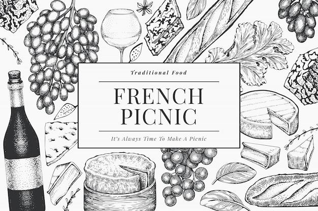 Französische lebensmittelillustrationsentwurfsschablone. hand gezeichnete picknickmahlzeitillustrationen. verschiedene snacks und weine im gravierten stil. vintage food hintergrund.