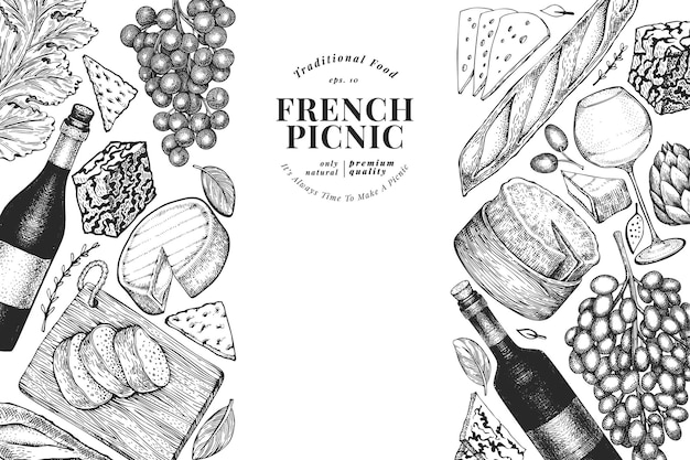 Französische lebensmittelillustrationsentwurfsschablone. hand gezeichnete picknickmahlzeitillustrationen. verschiedene snacks und weine im gravierten stil.