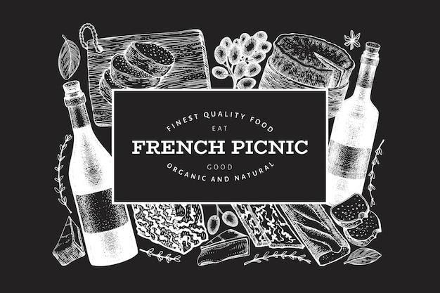 Französische lebensmittelillustrationsschablone. hand gezeichnete picknickmahlzeitillustrationen auf kreidetafel. verschiedene snack- und weinbanner im gravierten stil.