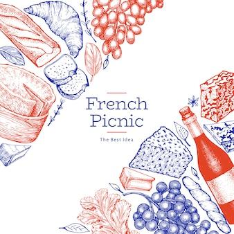Französische lebensmittelillustrationsschablone. hand gezeichnete picknickmahlzeitillustrationen. verschiedene snacks und weine im gravierten stil.