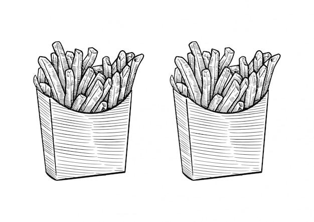 Französische pommes hand gezeichnet