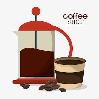 Französische presse kaffeetasse bohnen