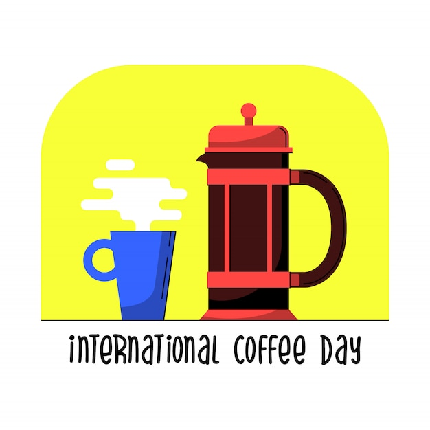 Französische presse mit becher. flache cartoon-vektor. kaffeekanne für glücklichen internationalen, nationalen kaffeetag